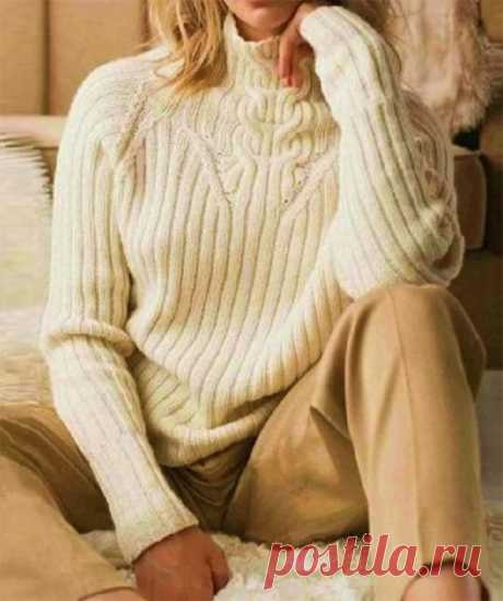 Белый вязаный свитер с высоким воротником (Вязание спицами) – Журнал Вдохновение Рукодельницы