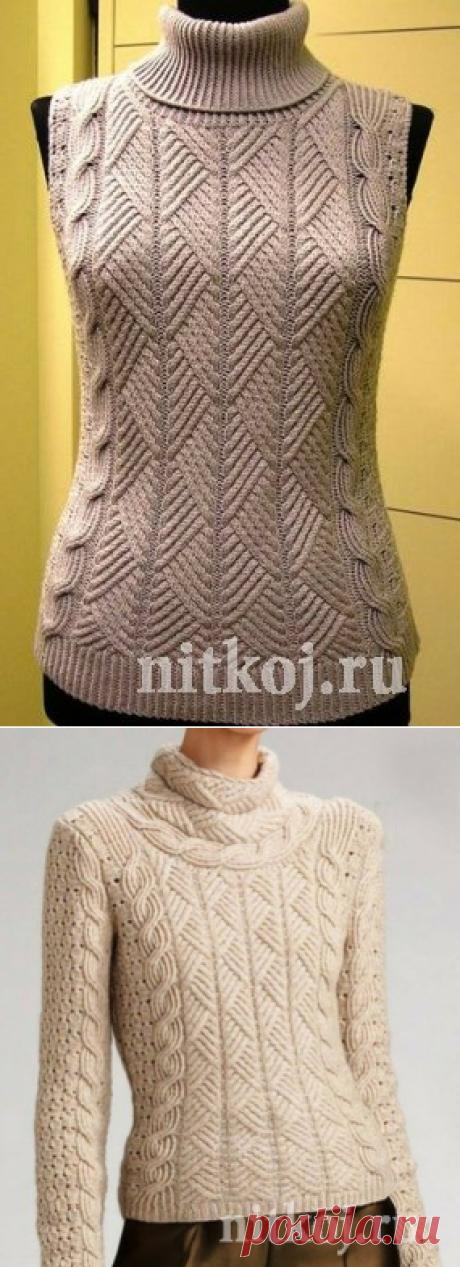 Жилет и свитер одинаковым узором спицами » Ниткой - вязаные вещи для вашего дома, вязание крючком, вязание спицами, схемы вязания