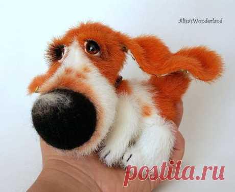 Бассет. Выкройка Мягкая игрушка собака, выкройка. Автор этого симпатичного щенка Алиса Шангина.    источник