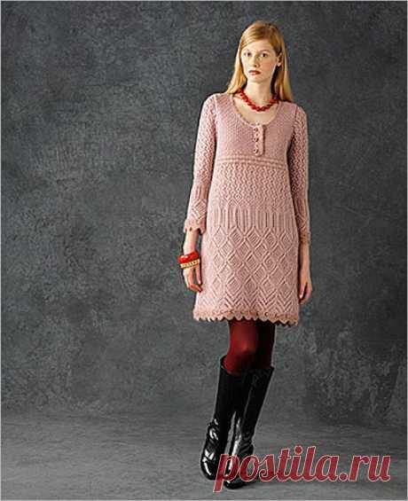 Романтическая мода в любую погоду - платье спицами