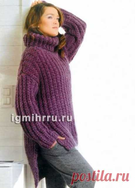Бордово-фиолетовый свитер-унисекс крупной вязки. Вязание спицами