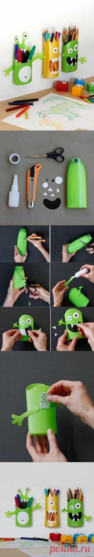 废弃洗发水沐浴乳塑料瓶子改造怪兽可爱笔筒@Miyuki觅雪采集到设计·创意(413图)_花瓣工业设计