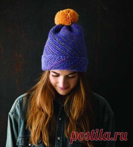Тёплая шапочка, вязаная по диагонали - что-то новое! из категории Интересные идеи – Вязаные идеи, идеи для вязания