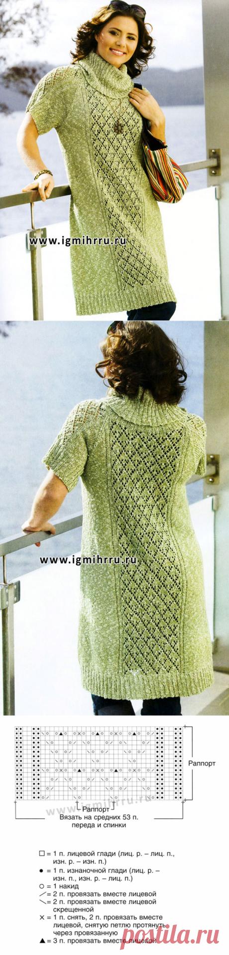 Мода PLUS. Серо-зеленое платье с широкой ажурной полосой. Спицы