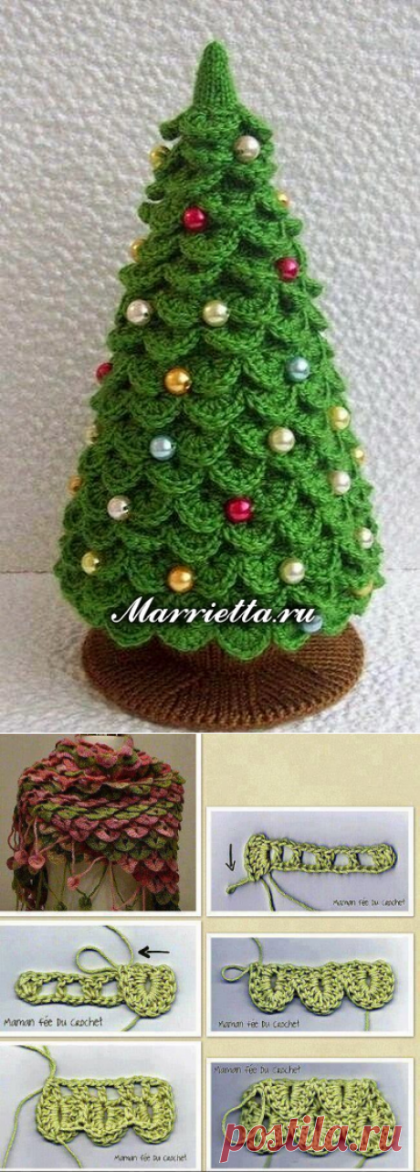 Knitted hook New Year's FIR-TREE