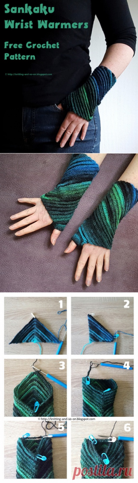 Knitting and so on: Sankaku wrist gaiters in knitting by a hook