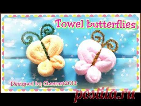 Towel fold craft - Towel butterfly tutorial 摺毛巾手工教學 -  - YouTube