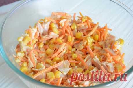 Салат с копченой курицей и корейской морковкой — СОВЕТНИК