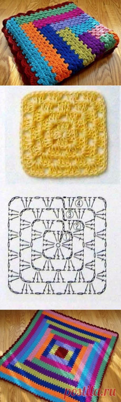 "Плед на основе ""бабушкиного квадрата"" - Попкорн - детское вязание спицами и крючком"