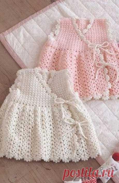 Детское платье с запахом - схемы вязания крючком и спицами - Две Нитки