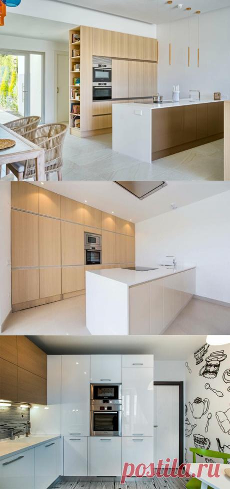 Ряд высоких шкафов вместо кухонного гарнитура - идиотизм? А вот и нет! Примеры кухонь, в которых много пеналов и мало открытой рабочей поверхности