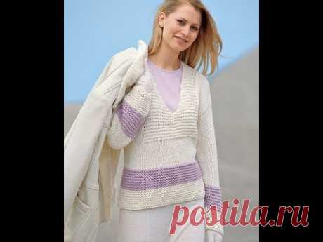 Пуловер Платочной Вязкой Спицами - 2019 / Pullover Flocking Knitting Needles