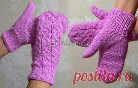 Mittens braids with a thumb the Indian wedge. Description, scheme, video lesson