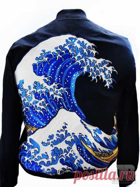 Вышивка на джинсовой одежде в виде волны