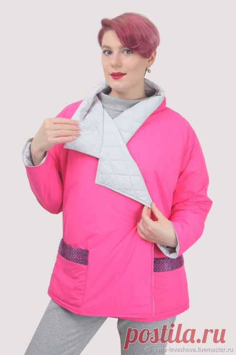 Куртка неоновая розовая осенняя короткая под пояс плюссайз оверсайз – купить на Ярмарке Мастеров – LPEF2RU | Куртки, Москва