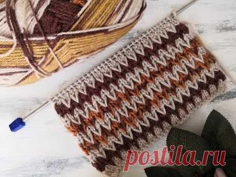"""Узор спицами """"двухцветные зигзаги"""" для вязания свитера, кардигана, шапки - YouTube"""