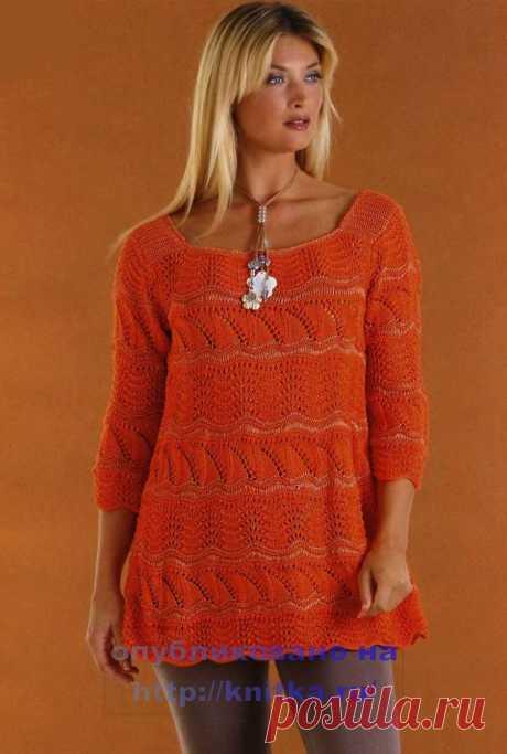 Оранжевая туника, связанная на спицах