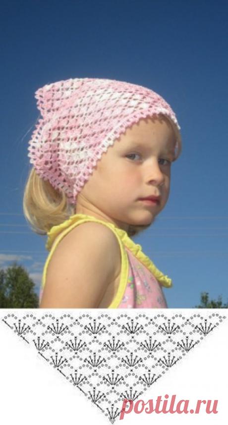 Косынка из розовой меланжевой пряжи крючком - описание, схемы+фото