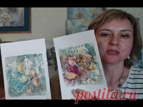 Монопринт, гелевые пластины и спиртовые чернила в микс медиа арт: мастер-класс Натальи Жуковой