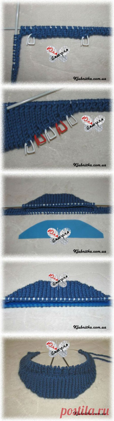 MK knitting of a peak for a cap\/cap\/beret spokes » Club Thread - knitting by spokes and not only
