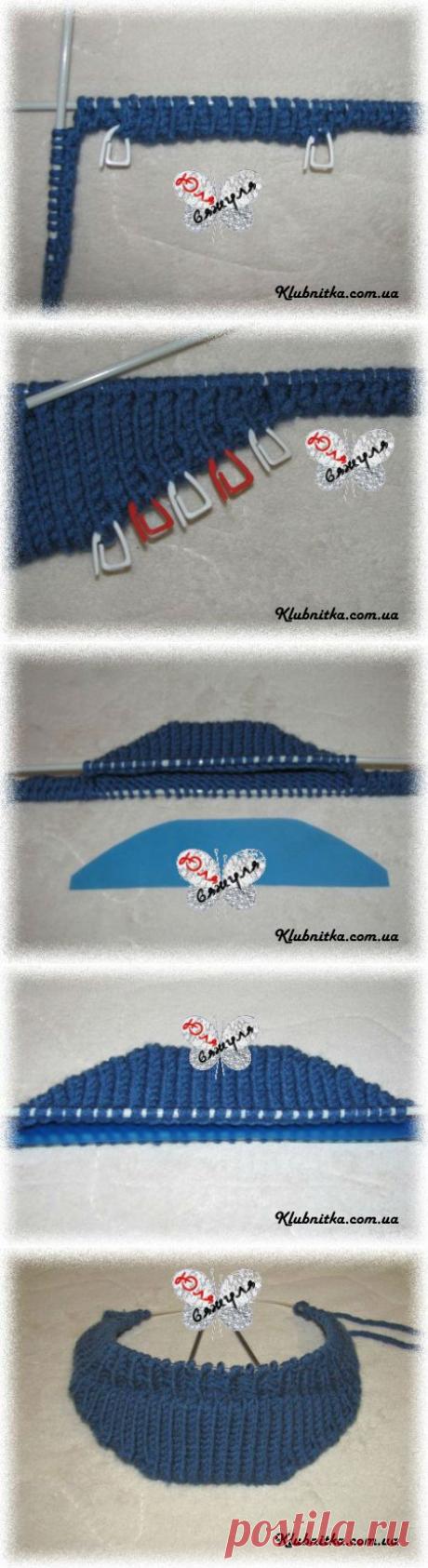 МК вязание козырька для кепки/шапки/берета спицами » Клуб-Нитка - вязание спицами и не только