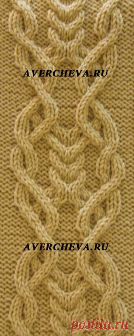 Узор спицами 952 «Коса 26 петель» | каталог вязаных спицами узоров