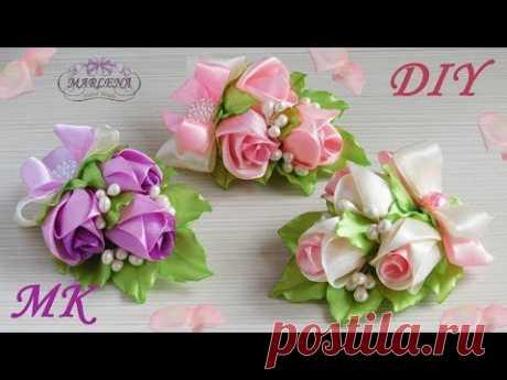 Розы 🌹 канзаши мастер-класс. Заколка/бутоньерка с бутонами роз МК/DIY - YouTube