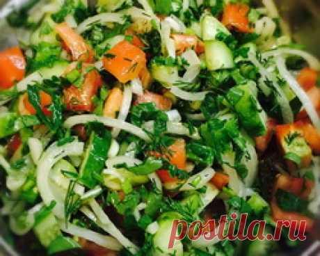 Татарский салат из баранины с зеленью