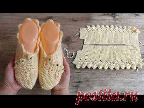 Следки с каймой спицами | Slippers with border knitting pattern Следки с каймой спицами | Slipper with border knitting patternОписание: https://prjaga.ru/vyazanie-dlya-zhenshchin/noski-tapki/sledki-s-kajmoj-spicami#knittin...