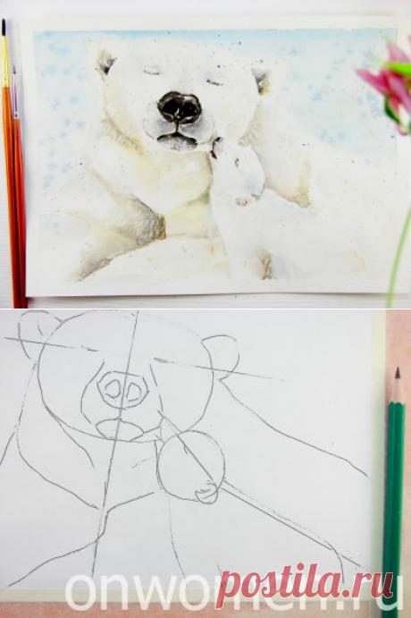 Белый медведь акварелью — Поделки с детьми