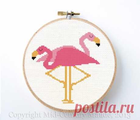 Flamingos cross stitch pattern pink mid century modern retro   Etsy