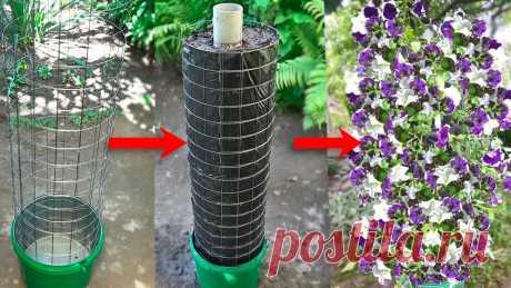 Вертикальный цветник-клумба для дачи Сделал вертикальный цветник – клумбу для дачи. Цветник можно сделать за несколько часов. Ему нужно дать отстоятся 1-2 дня, что бы земля немного уплотнилась. ...