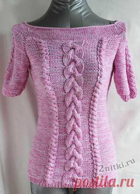 Пуловер из хлопковой пряжи с коротким рукавом