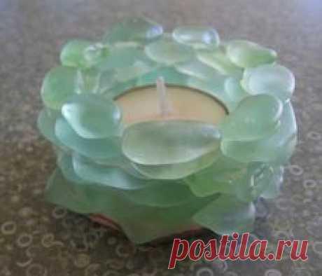 sea glass candle