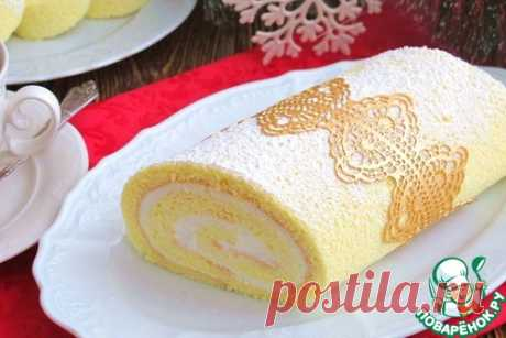 Бисквитный рулет со сметанным кремом – кулинарный рецепт