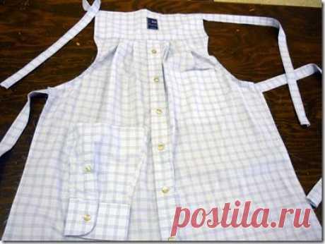 Men's dress shirt becomes apron (need to clean out hubbies closet, he he he) | aprons