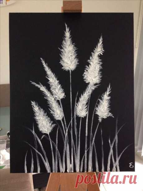 Black and white painting for big blank wall? Could do black and gold instead of the white. Also a great idea to do with white pastel on black paper. #art #canvas #paper #blackpaper #ad