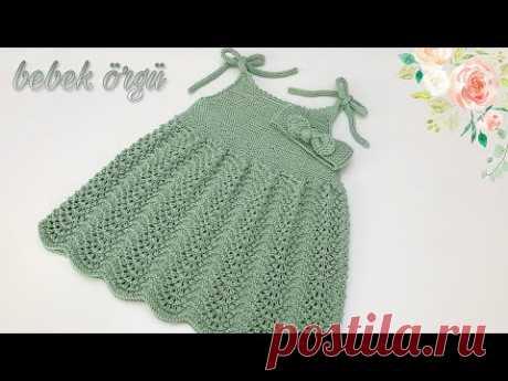 Yazlık ip askılı kolay bebek örgü elbise yapımı, baby knit dress pattern with summer rope straps