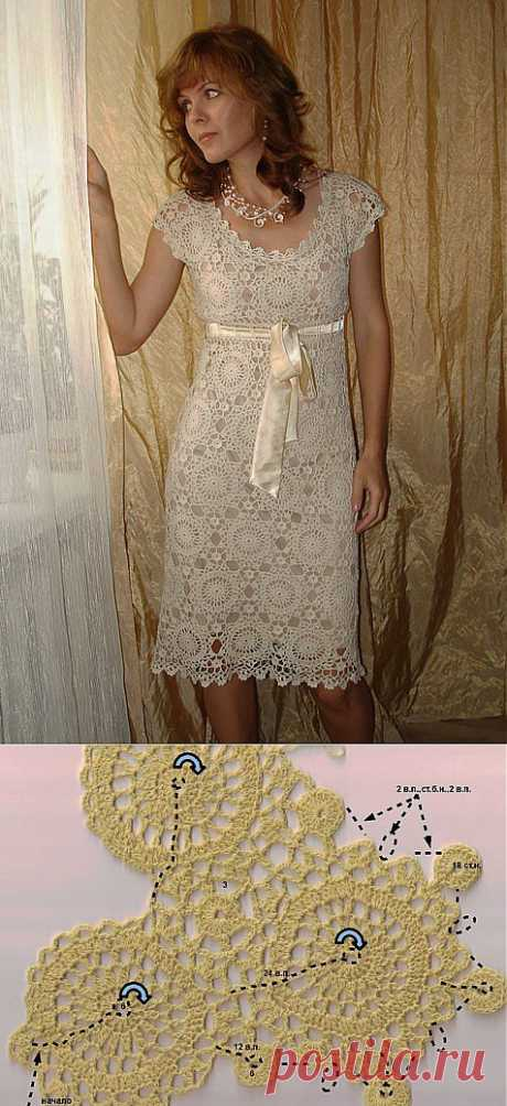 Платье крючком, схемы безотрывного вяания
