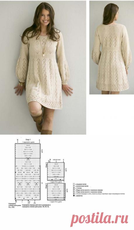 Платье «Нежность» (Вязание спицами) | Журнал Вдохновение Рукодельницы