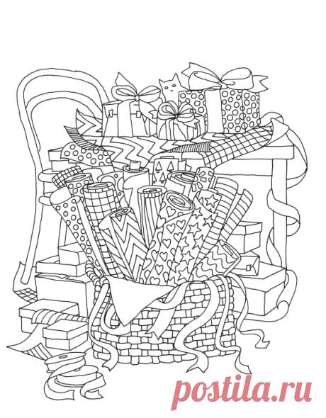 Лист из раскраски «Творческий беспорядок».