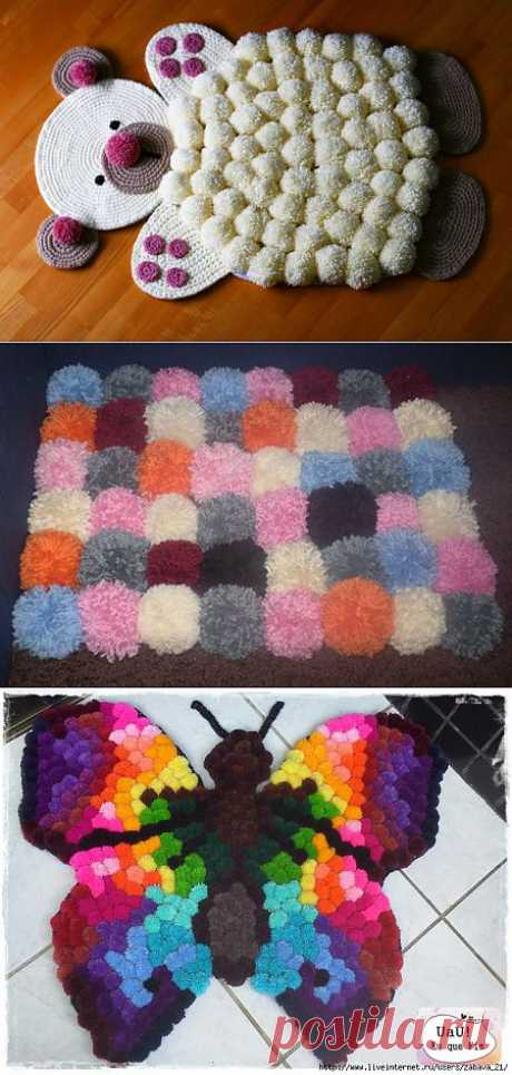 Wonderful rugs from pompons.)))\u000d\u000aHow to make pompons with own hands from woolen threads? Pompons hang up on various hand-made articles of handwork and a toy, use them as ornament, decorate children's things, and also with them chirlidersh act.