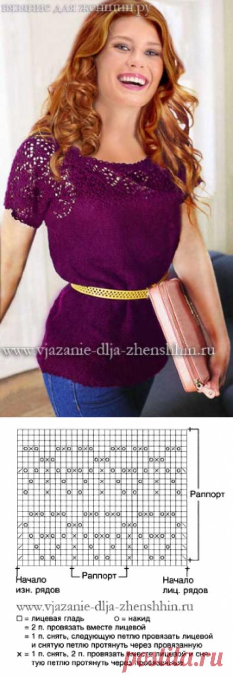 Вязание спицами кофточки с ажурной кокеткой