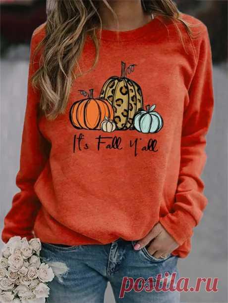 Women Halloween Pumpkin Print Crew Neck Loose Raglan Sleeve Sweatshirts - US$19.99