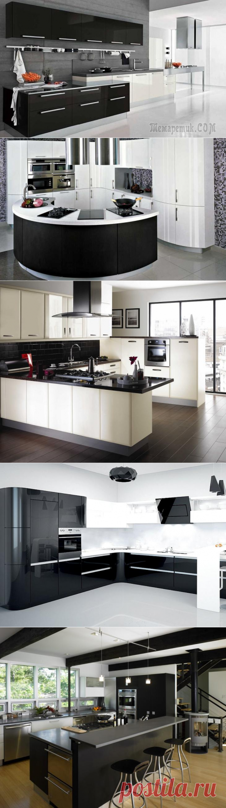 20 черно-белых кухонь в стиле хай-тек