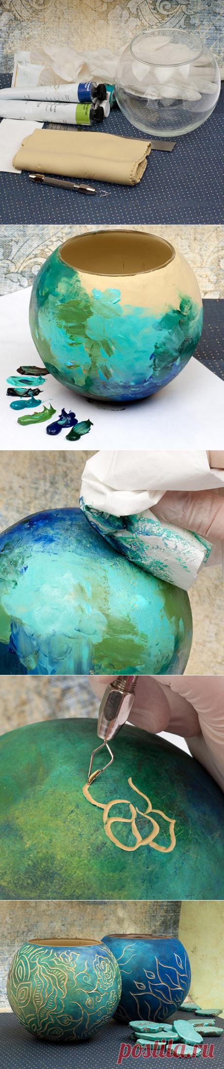 Декоративная ваза в технике сграффито. Идеи для творчества