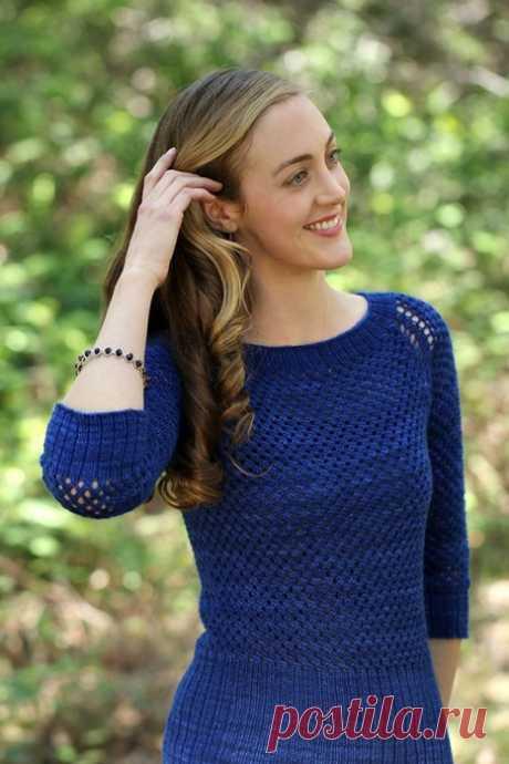 Вязаный ажурный пуловер August Sky с рукавами реглан и широкой резинкой от дизайнера Maria Olsen