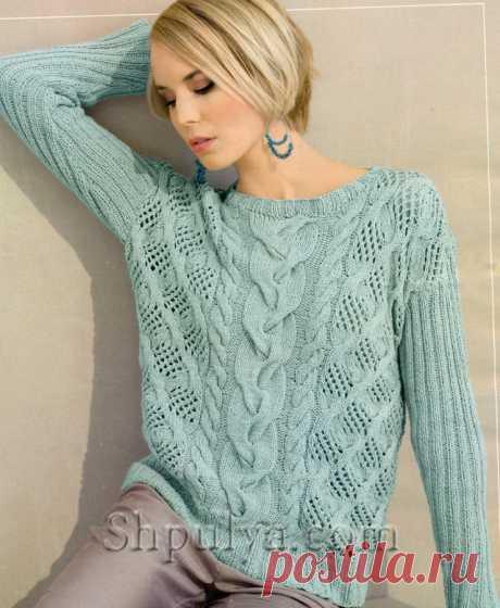 www.SHPULYA.com - Узорчатый пуловер мятного цвета