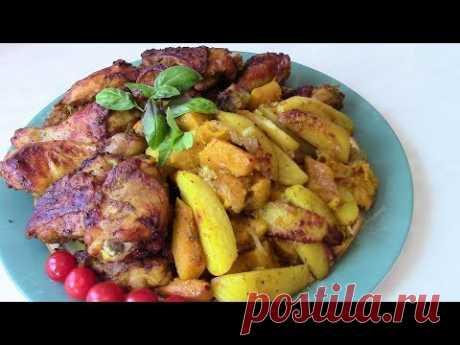 Курица , запеченная с картошкой и тыквой . Рецепт куриный .