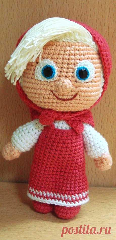 "PDF Маша крючком. FREE crochet pattern; Аmigurumi doll patterns. Амигуруми схемы и описания на русском. Вязаные игрушки и поделки своими руками #amimore - кукла Маша из детского мультфильма ""Маша и Медведь"", куколка."